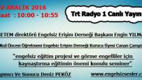 30 Aralık 2016 Saat 10:00 – 10:55 Arası Trt Radyo 1 Canlı Yayın