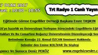 27 Ocak 2017 Saat : 10:00- 10:55 TRT Raydo 1 Canlı Yayın