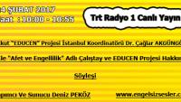 24 ŞUBAT 2017 Saat : 10:00- 10:55 TRT Raydo 1 Canlı Yayın