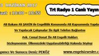 23 HAZİRAN 2017 SAAT : 10:00 – 10:55 ARASI TRT RADYO 1 CANLI YAYIN