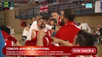 23. Avrupa Tekerlekli Sandalye Basketbol Şampiyonası finalinde Büyük Britanya'yı 76-69 yenen Türkiye, şampiyon oldu.