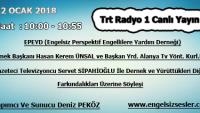 12 OCAK 2018 SAAT : 10:00 – 10:55 ARASI TRT RADYO 1 CANLI YAYIN