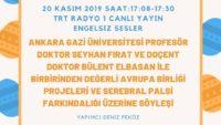 20 KASIM 2019 SAAT:17:08-17:30 TRT RADYO 1 CANLI YAYIN ENGELSIZ SESLER