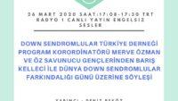 26 MART 2020 SAAT:17:08-17:30 TRT RADYO 1 CANLI YAYIN ENGELSIZ SESLER